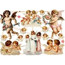 Kiiltokuvat, arkki 16,5x23,5 cm, isommat enkelit, 3ark