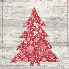 Servietter, str. 33x33 cm, Rødt juletre, 20stk.