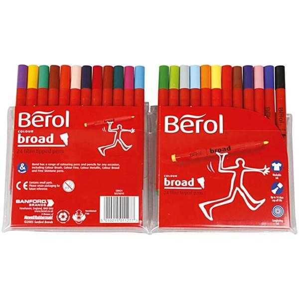 Berol Colourbroad, strektykkelse: 1,7 mm, dia. 10 mm, ass. Farger, 24stk.