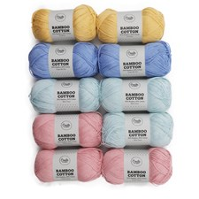 Adlibris Bamboo cotton garn 100g Pastel mix 10-pack