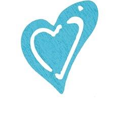 Skjevt hjerte, str. 25x22 mm, tykkelse 1,7 mm, 20 stk., lys turkis