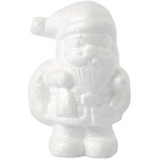 Joulupukki, kork. 11 cm, valkoinen, styrox, 1kpl