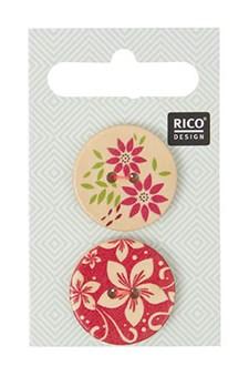 Treknapper Blomster Trykk 2,5cm