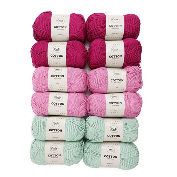 Adlibris Cotton Garn 100g Bestemorsruter 12-pakk