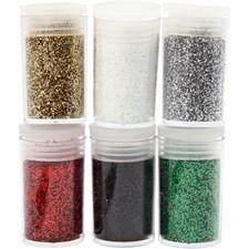Glitter, mixade färger, 6x5g