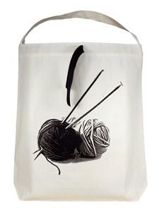 Bag-all Knitting Tygpåse 100% Bomull 33x31x6 cm Svart/Vit