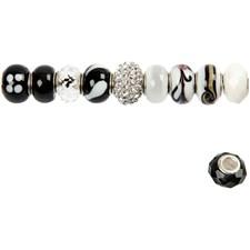 Glaspärlor Metallinks dia 13-15 mm Svart/Vit Harmoni 10 st