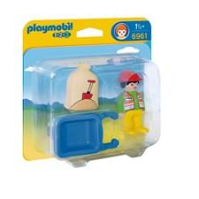 1.2.3 Byggarbetare med skottkärra, Playmobil