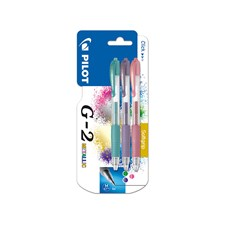 Pilot G-2 Metallic 3-P- Rollerball med gelblekk - Gull - Medium spiss