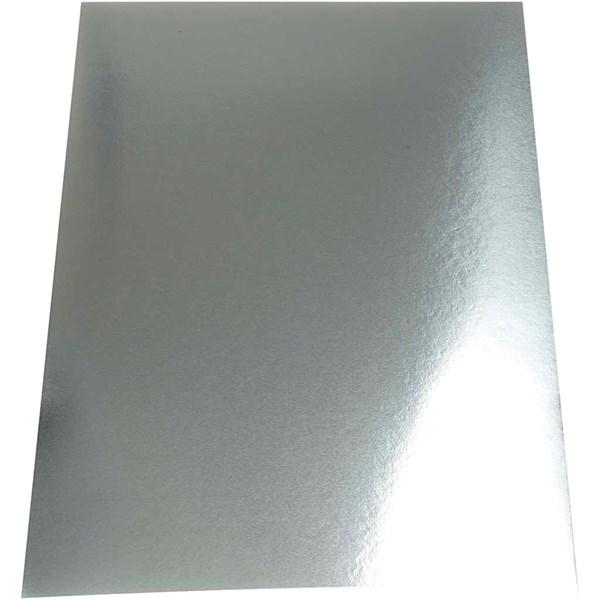 Metallkartong, A4 21x30 cm, 280 g, 10 ark, sølv