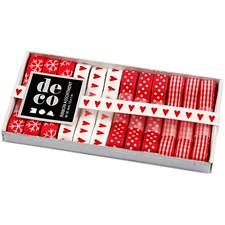 Dekorasjonsbånd, B: 10 mm, 12x1 m, rød/hvit harmoni