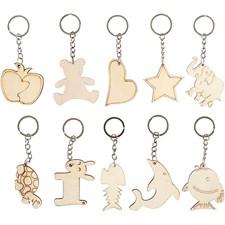 Nøkkelringer, str. 5,5x5,5 cm, tykkelse 2 mm, 30 stk., kryssfiner