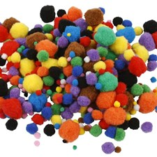 Pom-poms Dia 5-40 mm Mix 150 st