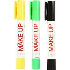 Playcolor-kasvovärikynät, 3x5 g, vaaleanvihreä, keltainen, musta