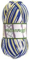 Mellanraggi Garn Ullmix 100g Sverige Blå/Gul Print (28337)