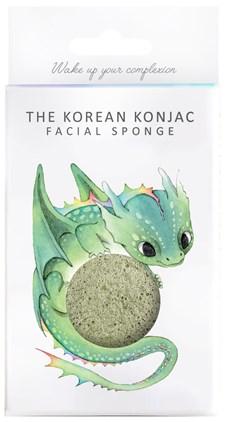 Konjac Sponge Mythical Dragon Sponge and Hook - Green Clay