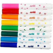 Tuschpennor med Stämpel 8 Färger
