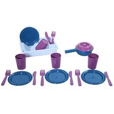 Middagsservise med oppvaskstativ, 19 deler, Plasto