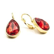 Glam Teardrop Örhängen, Siam Red gold