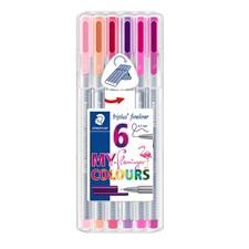 Triplus® fineliner 6-pack, i STAEDTLER-box, 0,3 mm fiberspets. Flamingo