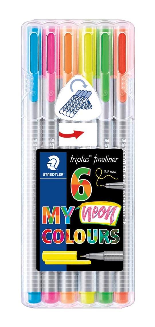 Triplus® fineliner 6 kpl, STAEDTLER-paketissa, 0,3 mm kuituterä. Neon