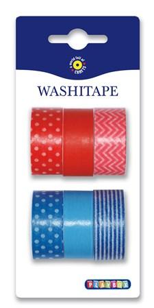 Washitape 6-pack röd blå