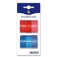Washitape 6 stk. rød og blå.