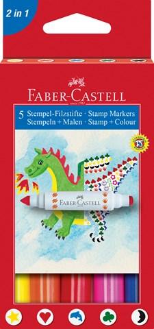 Stämpelpennor Faber-Castell Dubbelspets 5-pack