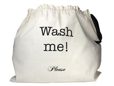 Bag-all Large Wash Me Vaskepose 100% Bomull 55x66 cm Svart/Hvit