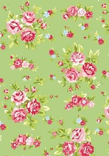 Kangas 13, Kukat vihreä, vaaleanpunainen - 55/ 55 cm, 100% puuvilla