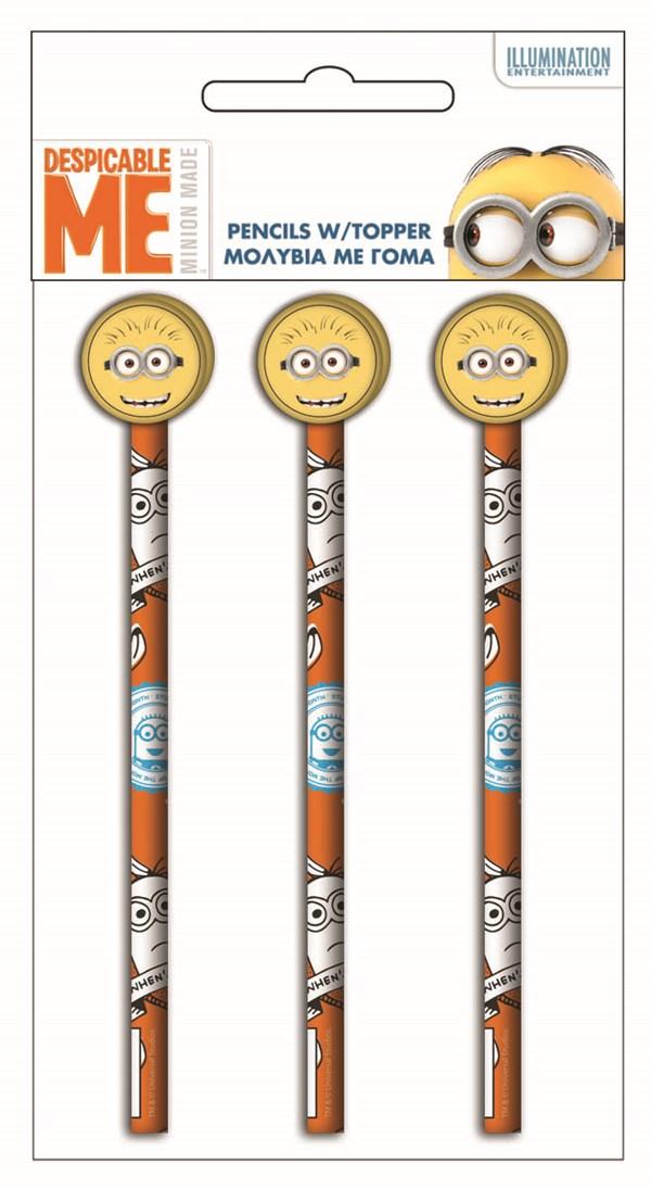 Minions blyantsett, Sense 3 stk. med viskelærtopp