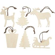 Julhängen av Trä 7-9 cm Plywood Mix 6 st
