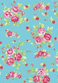 Kangas, Kukat turkoosi, vaaleanpunainen 50 x 160 cm