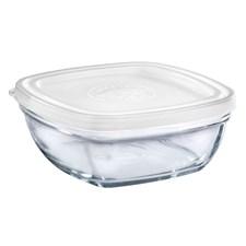Glasskål m/plastlokk, 14 cm, Klar, Duralex