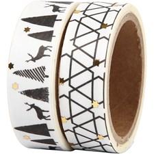 Maskerings tape, B: 15 mm, , hjort og mønster - foil, 2x4m