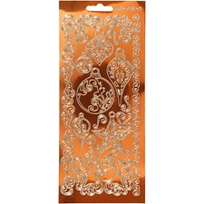 Ääriviivatarrat, arkki 10x23 cm, kulta, transparent kobber, Ornamentit, 1ark