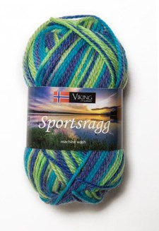 Viking of Norway Sportsragg Garn Ullmix 50g Multi blå/grön 552