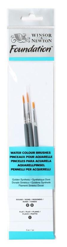 Pensle syntetisk pensel for akvarell og akryl med følgende typer og størrelser Flat 1, runde 3, 5 kort håndtak