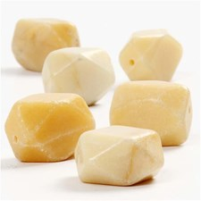 Stone beads, str. 19x15 mm, hullstr. 0,6 mm, 1 streng, lys gul, cream