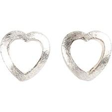 Hjerte, str. 17x15x2 mm, hullstr. 1 mm, børstet sølv, Belagt med Sterling Silver, 3stk.