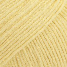 Drops, Cotton Merino Uni Colour, Garn, Ullmiks, 50 g, Vaniljegul 17