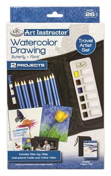 Akvarellfärgpennor och Färgpalett Medelstort Reseset med Online instruktioner Royal & Langnickel