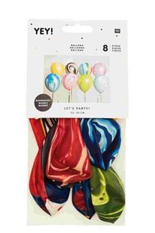 Ballonger, Rico, Marmormöster, 30 cm, mixade färger, 8 st.