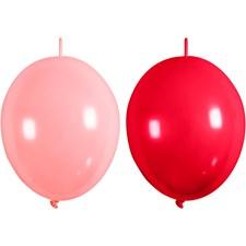 Ilmapallot, 8 kpl, vaaleanpunainen, punainen