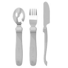 Twistshake Learn Cutlery Stainless Steel 12+m, Pastel Grey