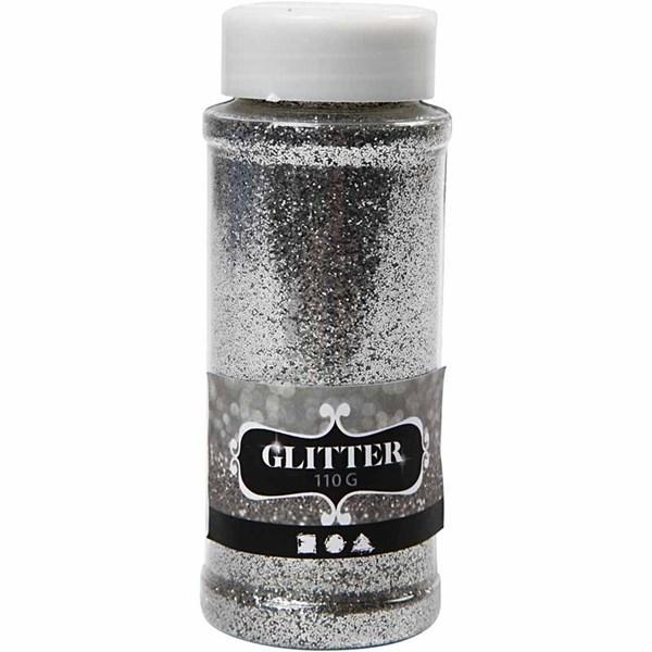 Glitter, 110 g, sølv