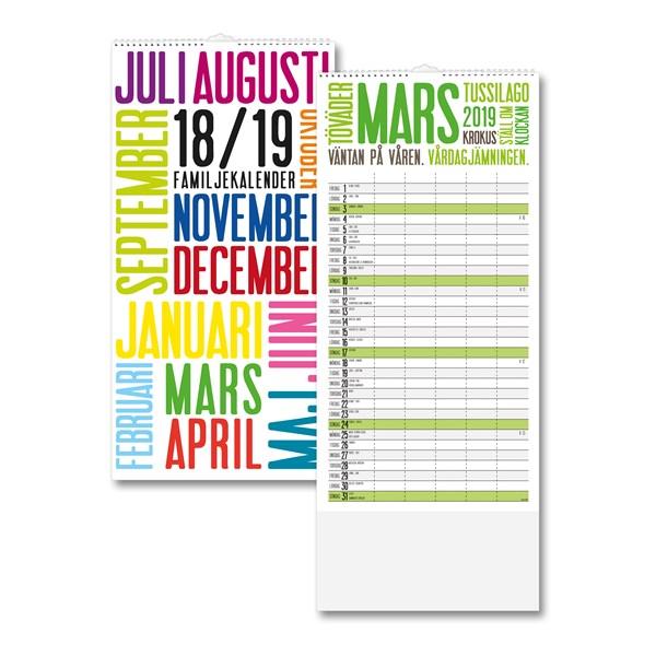 Väggkalender 18-19 Burde Familjekalender TrendArt