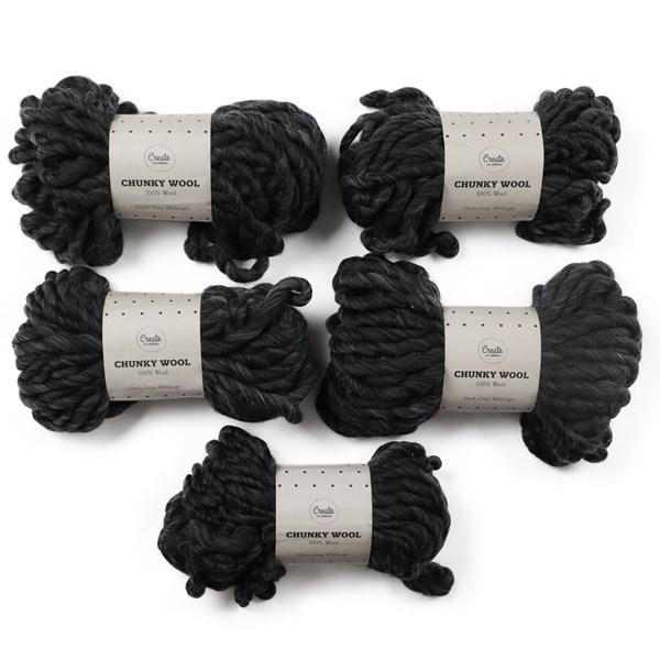 Adlibris Chunky Wool Garn 200g Dark Grey Melange A003 5-pack