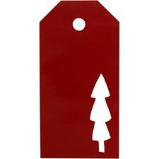 Pakettietiketit, koko 5x10 cm,  300 g, punainen, joulupuu, 15kpl