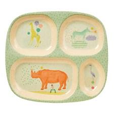 4-delt tallerken, Animal, Lys mintgrønn, Rice